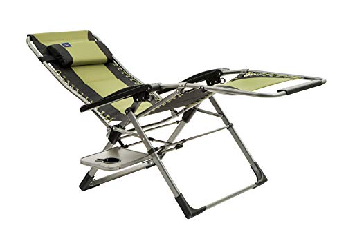 - Mac Sports Zero/Anti Gravity Outdoor Lounger Chair | Oversized Recliner, Padded, Removable Headrest/Support, Supports up to 250 lbs, Heavy Duty, Lightweight, for Camping Patio Outdoors Fishing | Green