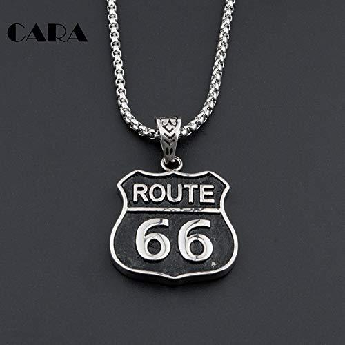 Metal Color: Antique Silver Plated, Length: 50cm Davitu Men Route 66 Charm Pendant Us Highway Legend Biker Road 316L Stainless Steel Hip Hop Necklace Antique Necklace Jewelry CAGF0036