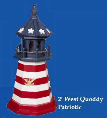 Amish-Made Red, White and Blue Wooden Outdoor West Quoddy Replica Lighthouse with 25 Watt Light, 45'' Tall