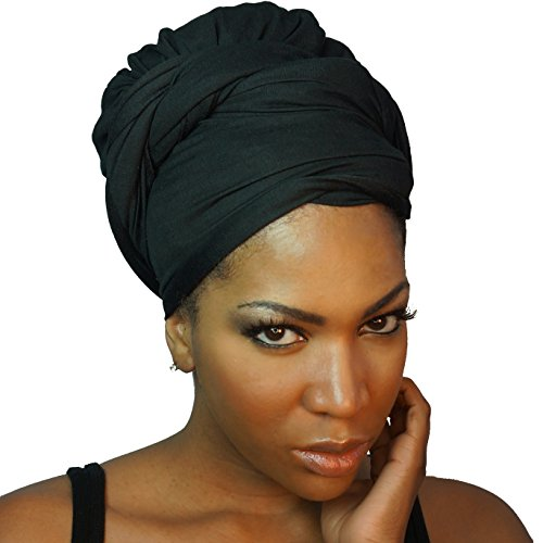 Headwrap in Stretch Jersey Knit - Long Head wrap Scarf - Black (Eye Catching Stretch Knit)