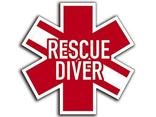 Star of Life Shaped RESCUE DIVER Sticker (scuba dive diving (Diver Scuba Diving Bumper Sticker)