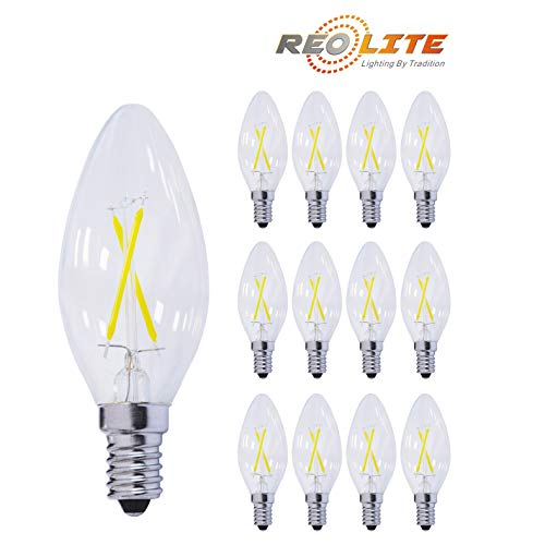 Reo-Lite 2400K Dimmable LED Candelabra Bulb 2W Soft White, 25W Equivalent 200LM E12 Base LED Chandelier Bulbs, B11 Clear Glass Candle Torpedo Shape, 360 Degree Beam Angle, 12 Pack