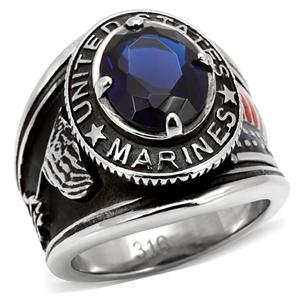 - Men's Stainless Steel United States Flag Marines Blue Oval Glass Stone Ring,Size:11