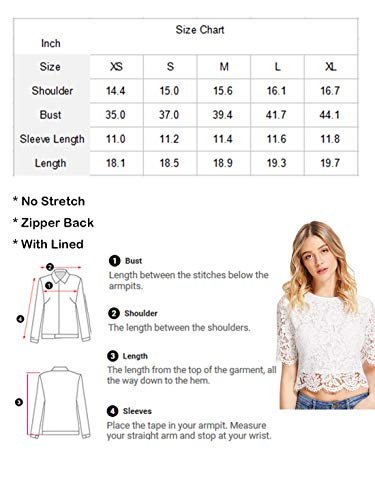 4f80d4341b3 MakeMeChic Women s Short Sleeve Sexy Sheer Blouse Mesh Lace Crop Top White  XS