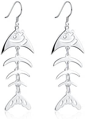 KELITCH JEWEL 925 Sterling Silver Plated Funky Fishbone Fish Dangle Earrings