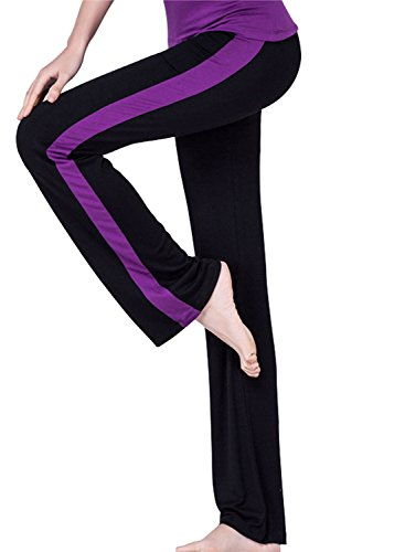 Tulucky Womens Workout Athletica Activewear Modal Gym Fitness Yoga Pants (Striped Yoga)