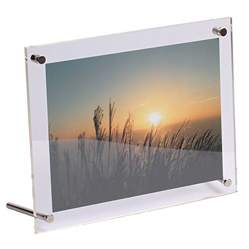 Acrylic Photo Frame,Crystal-Clear Desk Display and Wall-mounted Picture Frame made of 2 packs of 3 mm Thickness Panels suit for Certificate Landscape Family Photography (8x10 inch)