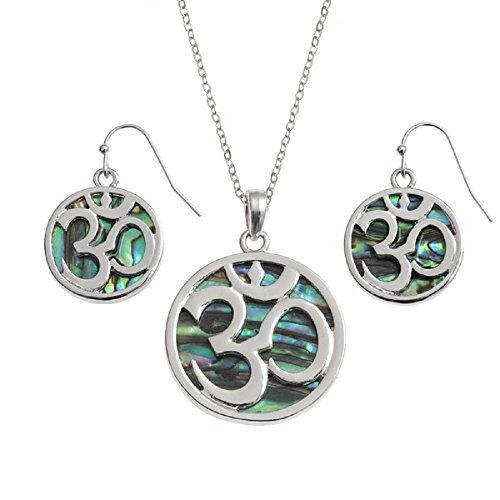 New BellaMira 18K Gold Plated or Abalone Shell OM (Aum) Necklace - Indian Motif Diwali HIndu Jewellery For Peace Love Meditation Yoga In Elegant Gift Box … (Abalone Shell - Jewelry Set) by BellaMira