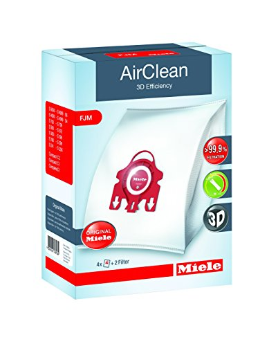 Miele AirClean 3D Efficiency Dust Bag, Type FJM, 4 Bags & 2 Filters (Type K Vacuum Cleaner Bags)