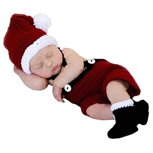 Soft Crochet Knit Baby Photograph Props,cute Baby Xmas Outfits,hat + Cloth + Shoes,(santa Claus) (Santa Baby Outfit)