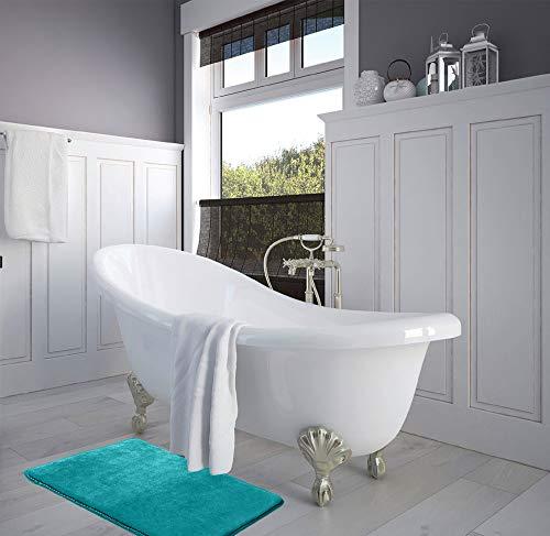 Set of 2 Small Size Ultra Soft Non Slip and Absorbent Bathroom Rug Clara Clark Memory Foam Bath Mat Dark Purple
