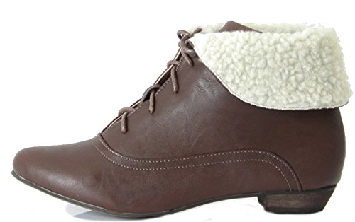 LOW ANKLE WOMENS FLAT Style Brown UP LADIES BOOTS SHOES LACE 2 HEEL PIXIE SIZE gawETaq