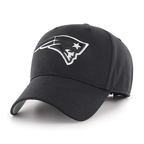 NFL New England Patriots Men's OTS All-Star Adjustable Hat, Black And White, One Size