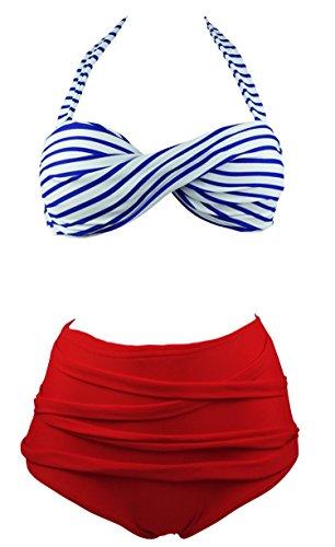 Cocoship Retro Blue & Red Stripe Bikini High Waist Swimsuits Vintage Pin Up Swimwear M(FBA)