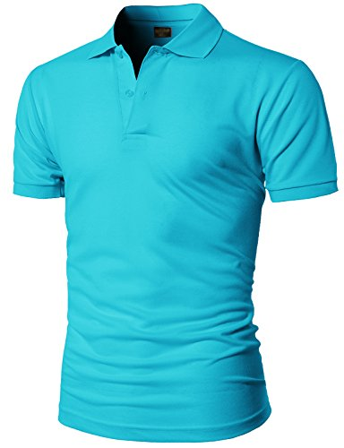 H2H Mens Casual Regular Fit Basic Short Sleeve Button Down Pique Polo Shirts