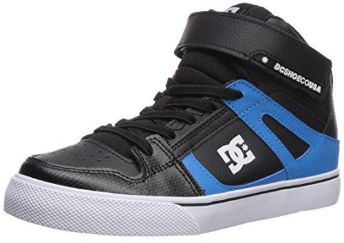 DC Boys' Pure High-Top SE EV Skate Shoe, Black/Red/Blue, 2.5 M US Little (Dc Pure Boys Shoes)