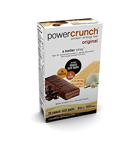 Power Crunch 18ct Protein Energy Bars Original 9 Milk Chocolate & 9 French Vanilla Creme 1.130z each ()