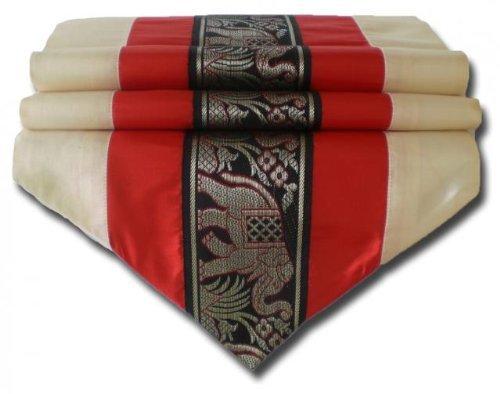 by soljo - tablecloth tablerunner table runner linen Thai Silk Elegant Elephant 150/200/250 cm x 32 cm many colors TC0130-TC0144 (red, 250 cm x 32 cm)