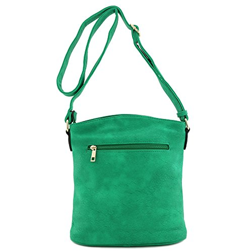 Triple Pocket Green Zip Kelly Large Bag Crossbody 77Afrqw