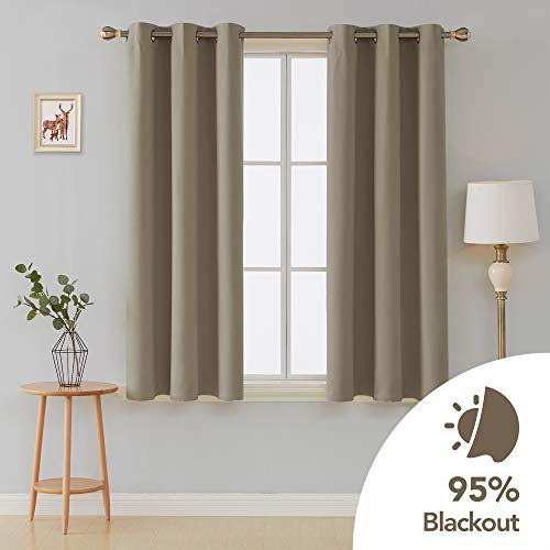 Deconovo Room Darkening Thermal Insulated Grommet Window Curtains Blackout 2 Panels for Living Room Taupe 42x63-Inch (Black And Tan Window Curtains)