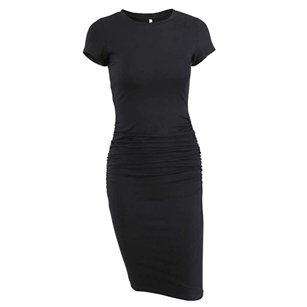 Hstore Women's Ruched Casual Sundress, Mini Short Sleeve Bodycon T Shirt Pleated Dress Sexy Slim Fit Casual Dress