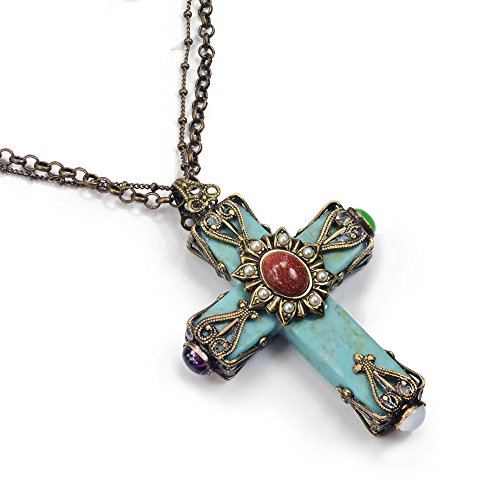 Ollipop ol n190 sweet romance turquoise cathedral cross for Jewelry stores in usa