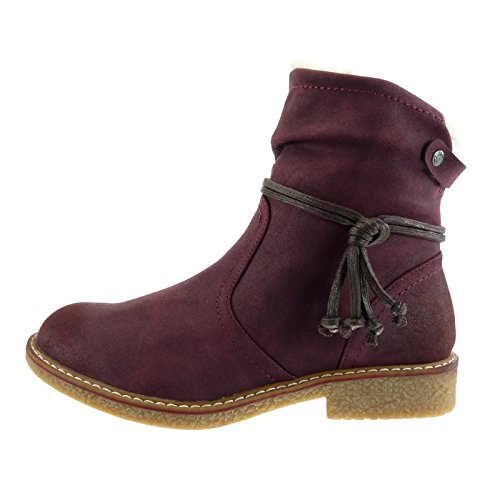 Wine Snow Boots cm Laces Cavalier Boots 5 Ankle Heel Fur Fashion Angkorly 2 Shoes Women's Booty Block Buckle xBYB4T
