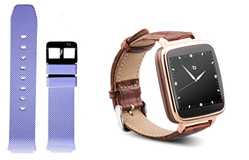 Beantech S1 Smart Watch for Apple/Android Phones. Gold with Brown Croc-Embossed Leather Strap with Bonus Purple Silicone Strap