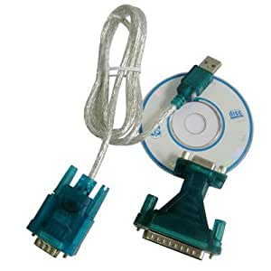 USB to RS232 9 pines, macho a cable RS232 & 9P hembra, 25 pines macho to RS232 Adaptador doble con chip