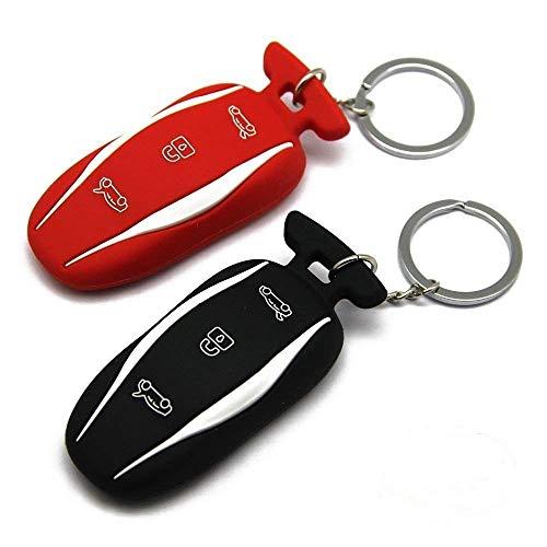 2 팩 실리콘 테슬라 키 FOB 커버 자동차 키 FOB 케이스 홀더 테슬라 모델 S | 모델 3(레드+블랙)