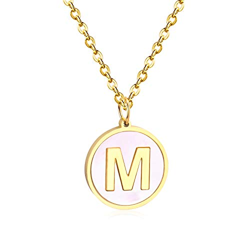 Lishfun Wholesale Gold/Silver 26 Letter Necklaces Collier Female 2019 Alphabet Initial Shell Pendant Necklace Party Daily