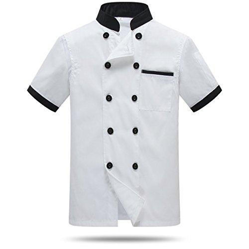 WAIWAIZUI Chef Jackets Waiter Coat Short Sleeves Back and Underarm Mesh Size XS (Label:L) White