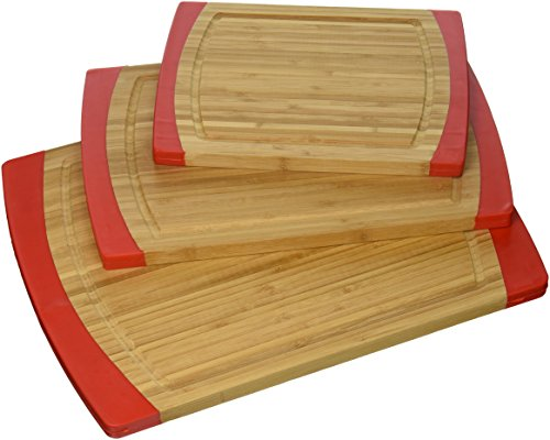 (Lipper International 8313R Bamboo Wood Non-Slip Kitchen Cutting Boards, Set of 3, Assorted Sizes, Red)
