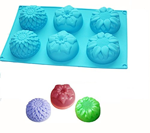 6 Cavity Silicone Flower Soap Mold Chrysanthemum Sunflower Mixed Flower shapes Cupcake Backing mold Muffin pan Handmade soap silicone Moulds By Palker…