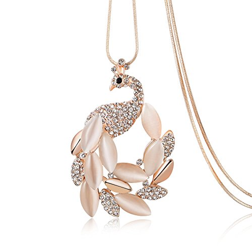 Gold Serpentine Chain (Gold Long Snake Chain With Rhinestone Opal Peacock Pendant Necklace for Women Girls)