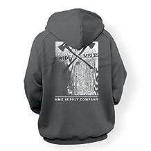 HMK Men's Wood Block Full Zip Hoodie (Gray, Large)