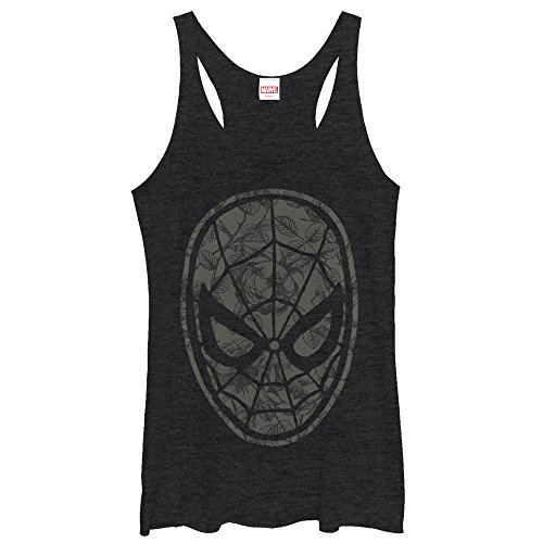 spider-man+tank+tops Products : Marvel Spider-Man Grayscale Floral Print Womens Graphic Racerback Tank