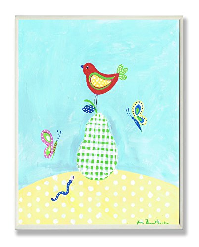 The Kids Room by Stupell Bird Perched on Green Gingham Pear Rectangle Wall Plaque