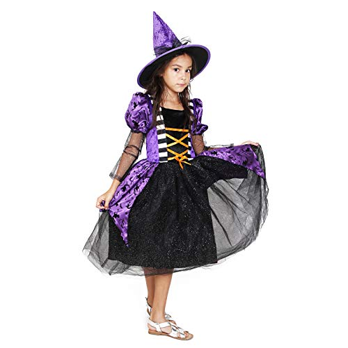 Girls Witch Costume Glamour Queen Kids Halloween Dress Deluxe Set -Queen(4-6 Year)