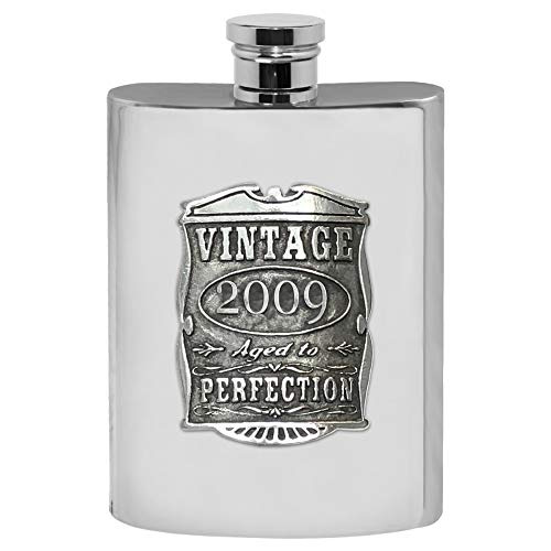 English Pewter Company Vintage Years 2009 10th Anniversary (TIN) Pewter Liquor Hip Flask - Unique Gift Idea For Men [VIN021] -