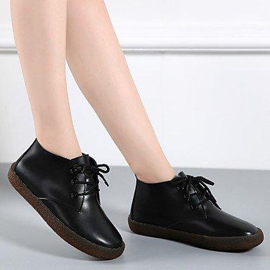 AIURBAG Mujer Zapatos Cuero de Napa Otoño Invierno Botas hasta el Tobillo Botas de Combate Botas Botines/Hasta el Tobillo Con Cordón Para Casual black