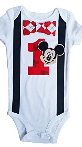 Baby Boys 1st Birthday Outfit Mickey Mouse Bodysuit, 18M-Short Sleeve, White-Black-Red