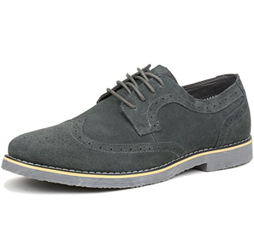 Alpine Swiss Beau Mens Dress Shoes Genuine Suede Wing Tip Oxfords Gray 12 M US