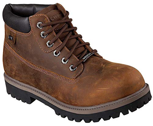 Skechers Sergeants Verdict Mens Leather Lace Up Boots-Brown-10