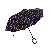 WBSNDB Double Layer Inverted Pattern Abstract Waves Curves Lights Umbrellas Reverse Folding Umbrella Windproof Uv Protection Big Straight Umbrella For Car Rain Outdoor With C-shaped Handle