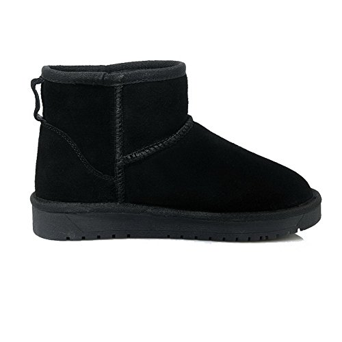 Low AllhqFashion On Top Solid Pull Low Black Boots Heels Suede Imitated Womens Snow qqfTBwtS