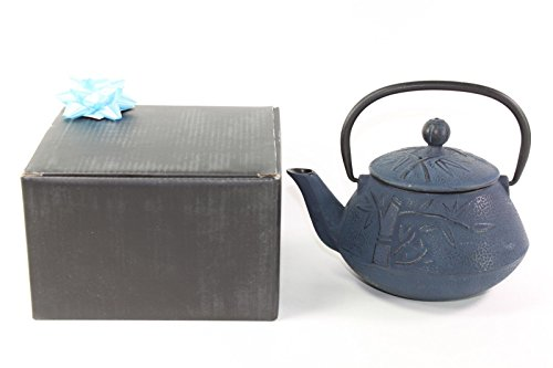 Japanese Antique 24 Fl Oz Blue Bamboo Chinese Cast Iron Teapot Tetsubin with Infuser Filter + Gift Bow F15348