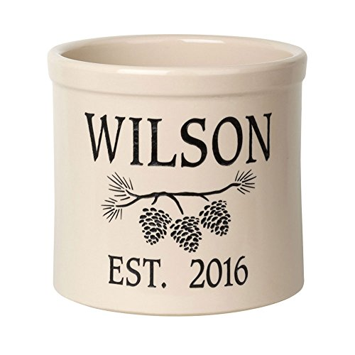 (Whitehall Personalized Pine Cone Crock - Custom Ceramic Pot - Black)
