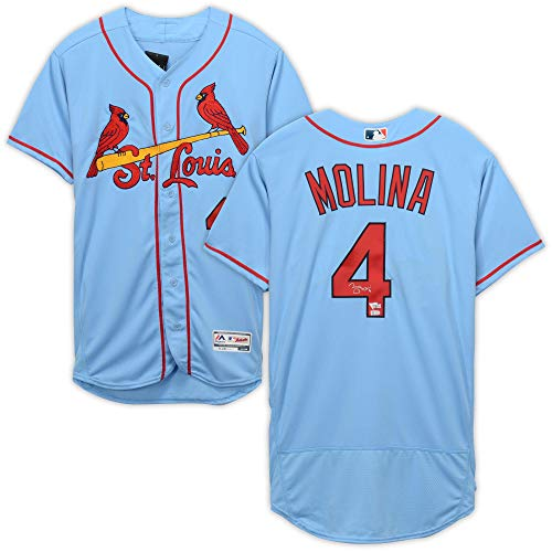 Yadier Molina St. Louis Cardinals Autographed Majestic Powder Blue Authentic Jersey - Fanatics Authentic Certified