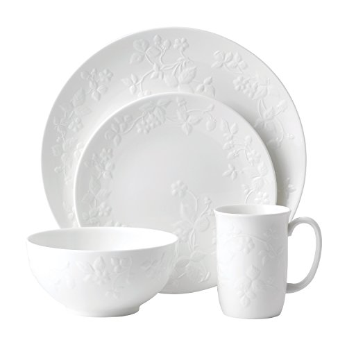 Wedgwood 40030418 4 Piece Place Setting, Wild Strawberry White (Strawberry Bone Wild)